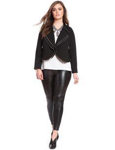 Double Trouble | Double Zipper Draped Jacket | Women's Plus Size Jackets | ELOQUII.com
