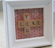 scrabble love! (made this one on layered scrapbook paper - so cute!)
