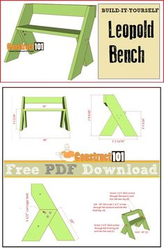 Leopold bench plans, free PDFwnload, cutting list, and shopping list. Woodworking Plans Pdf, Woodworking For Kids, Woodworking Patterns, Woodworking Workbench, Popular Woodworking, Woodworking Furniture, Woodworking Machinery, Youtube Woodworking, Workbench Plans