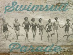 Coastal Swimsuit Parade on Wrapped Canvas
