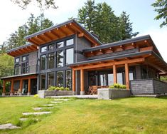 Beautiful A signature West Coast contemporary design, this modern hybrid timber frame home is as beautiful to look at as it is to live in. The post A signature West Coast contemporary design, t . Modern Exterior, Exterior Design, Exterior Colors, Exterior Paint, Black Exterior, Exterior Trim, Building Exterior, House Building, Green Building