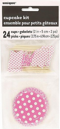 Pink Dots Cupcake Kit - PartyWorld Costume Shop Go dotty at your birthday extravaganza with our Cupcake Party Kit. Our Cupcake Holders feature a white polka dot pattern against a pink background, while the matching Cupcake Toppers feature a wooden pick which is accented with a pink and white polka dot flag.  Quantity Per Pack: - 24 Cupcake Cases. - 24 Picks.