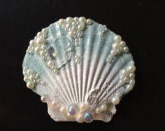 Mini Sea Glass Green Seashell Hair Clip
