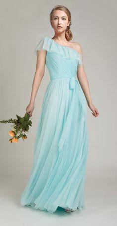 Elegant Ruffled One Shoulder Mint Blue Tulle Bridesmaid Dress
