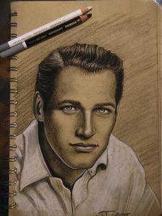 Draw of Paul Newman Charcoal pencil Different Media, Paul Newman, Art Abstrait, Illustrations, My Drawings, Charcoal, Pencil, Portrait, Dibujo