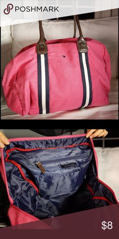 Tommy Hilfiger weekend bag A fun nautical weekend bag with leather handles. Pink with navy and white stripes. Open interior. Zips shut. Tommy Hilfiger Bags Travel Bags