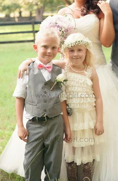 Gray and Ivory Lace Ruffle Dress for Girls with Peony Handcrafted Bloom