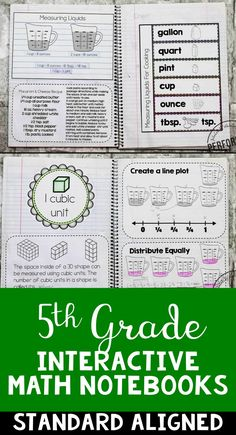 5th Grade Interactive Math Notebooks | Teach measurement, decimals, fractions and more! | Common Core Aligned