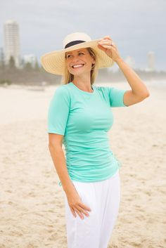 Kasana Sea - Ladies T-shirt Style Rash Vest - Nutmeg Beach, $60.00 (http://www.kasanasea.com.au/ladies-t-shirt-style-rash-vest-nutmeg-beach/)