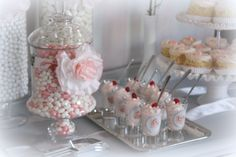 Pink & White Romantic Candy & Dessert Table  Wedding & Event Planning/The Perfect Table Cape Cod