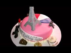 How to make a Paris themed cake with Royal icing Eiffel tower - YouTube