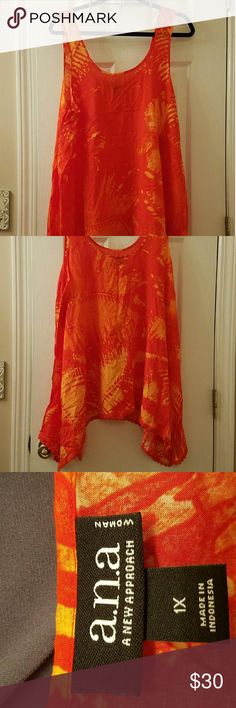 **NWT** Pretty Plus Size Tank Top This is a beautiful 2 tone orange tank top! The pictures don't do the color justice. It's very bright & cheery!!  ??  Never worn, tags on.  100% Rayon  Hand Wash, Hang dry. a.n.a Tops Tank Tops