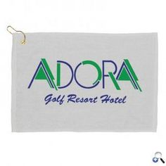 """Golf Towel - White  Item #VPQME-KQNBX 100% Cotton Hemmed Terry / Velour Towel (300 GSM - 1.3 lbs. per dozen). Ships with loop clasp, assembled. 11"""" W x 18"""" H"""