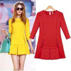 Street style new pleated dress half sleeve solid mini splice peplum dresses women casual 2015 autumn vestido de festa curto sale