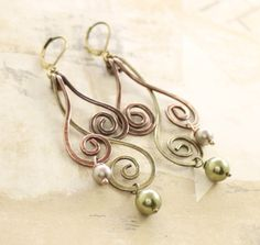 Long swirls copper and brass earrings with wave by IngoDesign