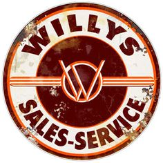 Willy's Sales - Service Sign. www.garageart.com