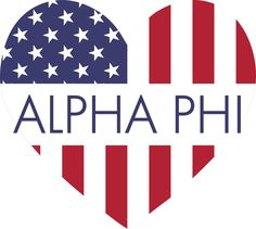 Alpha Phi American Flag Greek Heart Shaped Decal