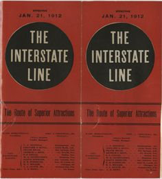 Cover of the 'The Interstate Line' program. Hoblitzelle-Interstate Collection.