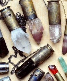 Crystals in shell casing pendants