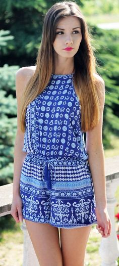 Adorable blue and white print romper