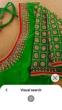 Stone Work Blouse, Aari Work Blouse, Hand Work Blouse Design, Blouse Designs Silk, Bridal Blouse Designs, Bead Embroidery Tutorial, Aari Embroidery, Embroidery Neck Designs, Wedding Dance Video