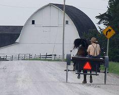 White gambrel roof barn