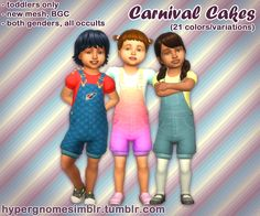 """""""Carnival Cakes"""" Overalls for Toddlers""""I'm just going to hop straight into this…  """"  • New mesh, Base Game-compatible.  • For both genders and all occults.  • Masculine and Feminine fashion choices.  • Everyday, Party, and Situation. Disabled for..."""