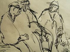 """Old Codgers;   by Dorothy Messenger, being used in """"Masters of Sex"""" on Showtime. 8 x 11 copy."""