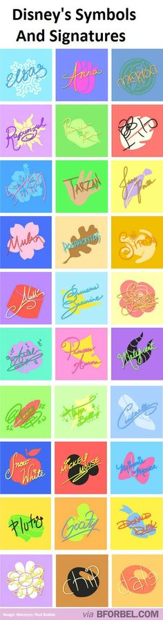 30 Disney Characters' Signatures…great for autograph book-have character sign over symbol