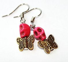 SALE Sugar Skull Earrings Pink Golden Butterfly by Exgalabur