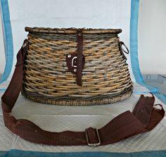 Antique Fishing Creel Wicker Sports Fishing by FabulousFunFashion on Etsy