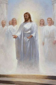 Jon McNaughton painting of the Savior and other loved ones creating at the gates of Heaven. Visit Us at www.Gods411.org