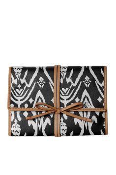 Espresso & White Ikat Print Jewelry Roll Clutch| Bring It Clutch | Stella & Dot