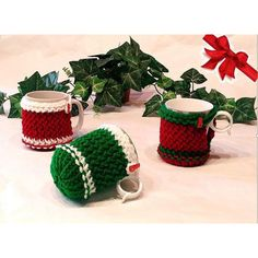 Christmas mug cozy, mug holder, coffe cozy, cup cozy, Christmas gift,... ($10) ❤ liked on Polyvore featuring home and kitchen & dining