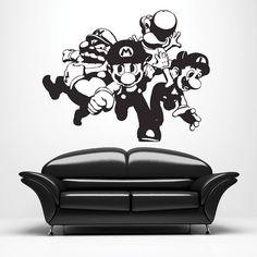 Super Mario Wall Decal • Retro • Video Game • Vinyl • Sticker • Decals • Wall Art • Mural • Boys Room • Game Room • Kids Room • Fun
