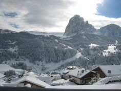 The famous Saslong Downhill from the sunny side of Santa Cristina, and one of the best ski resorts in Europe, must visit