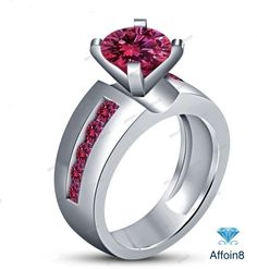 1.30 CT 14k White Gold Finish Round Cut Pink Sapphire Women's Engagement Ring 5  #Affoin8 #SolitaireWithAccentsRing
