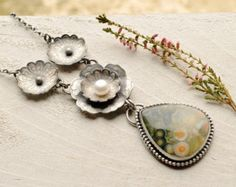 Silver Ocean Jasper Statement Necklace, Nature Inspired Metalwork, Botanical, Collector, Pearl Necklace, Oxidized Finish, Artisan, Boho