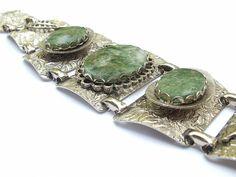 Vintage handmade polished green stone bracelet, aluminum link bracelet, green stone jewelry, green wedding bracelet
