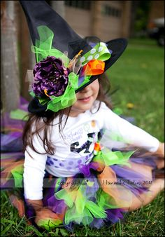 Wickedly Sweet Witches Hat Toddler Girls Green Purple Orange Witch Costume Hat. $18.00, via Etsy.