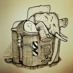 Elefante en la basura