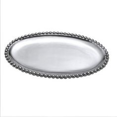 mariposa pearled small oval server, pearled, beaded, tray, serving platter, elegant, silver, aluminum