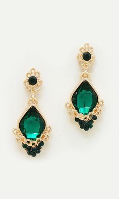 Crystal Milla Earrings in Emerald