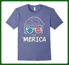 Mens Merica Donald Trump Fourth of July T-Shirt Medium Heather Blue - Holiday and seasonal shirts (*Amazon Partner-Link)
