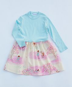 Another great find on #zulily! Pink & Blue Forest Dress - Infant, Toddler & Girls #zulilyfinds
