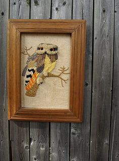 Vintage Crewel Embroidered Owl. Love the colors and textures.