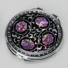 Mother of Pearl Purple Flower Art Deco Black Round Double Compact Handbag Purse Makeup Cosmetic Pocket Hand Mirror with Arabesque Design...Handbag Stuff