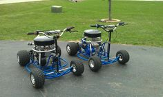 Home Made Bar Stool Racers..    Made 100% from scratch, 1/2 black pipe frame, Snowmobile parts, etc Check out www.bkboatnsleds.com for parts! These do about 45 mph! Amsoil stools!