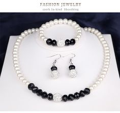 TS Double Black and White 2 Layer Simulated Pearl Strand Necklace (jewelry set) Silver Chain Necklace, Strand Necklace, Necklace Set, Silver Jewelry, Beaded Necklace, Silver Ring, Crystal Jewelry, Black Crystals, Antique Rings