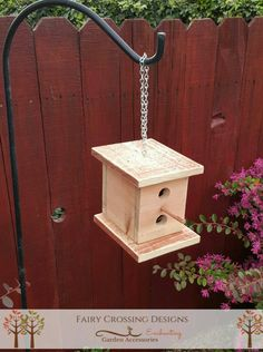 Outdoor Hanging Birdhouse  Natural Redwood by FairyCrossingDesigns